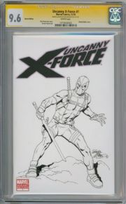Uncanny X-Force #1 CGC 9.6 Signature Series Signed Bob McMcleod Deadpool Sketch Marvel comic book